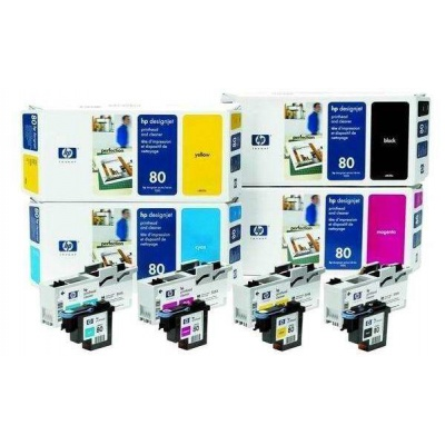 HP 80 Cyan Printhead + Printhead Cleaner, C4821A