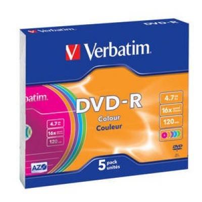 VERBATIM DVD-R(5-Pack)Slim/Colour/16x/4.7GB
