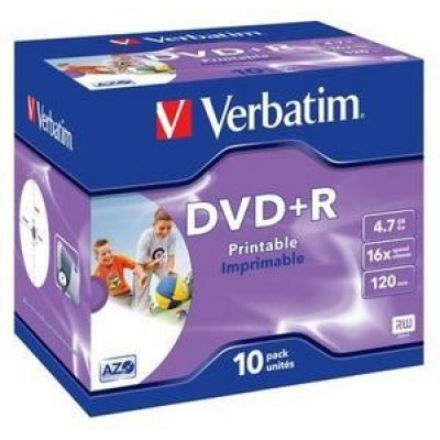 VERBATIM DVD+R(10-Pack)Printable/Jewel/16x/4.7GB