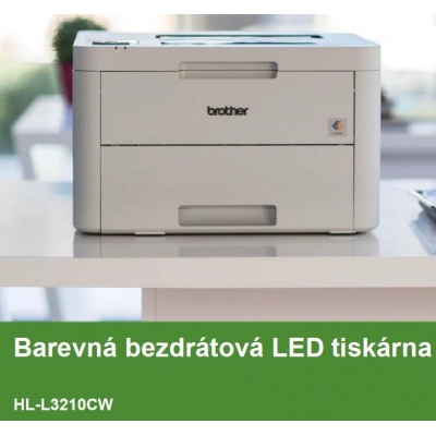 BROTHER tiskárna color LED HL-3210CW - A4, 18ppm, 2400x600, 256MB, USB 2.0, WiFi, 250listů