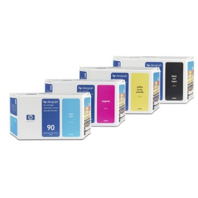 HP 90 Yellow DJ Ink Cart, 400 ml, C5065A