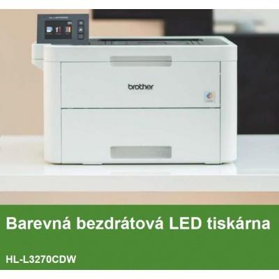 BROTHER tiskárna color LED HL-L3270CDW - A4, 24ppm, 2400x600, 256MB, USB 2.0, WiFi, 250listů, display 6,8cm touch DUPLEX